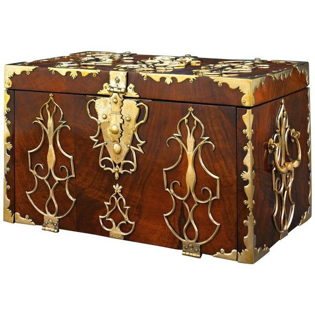 Mid 18th Century 18th Century British Brass Mounted Strong Box For Sale - Image 5 of 5