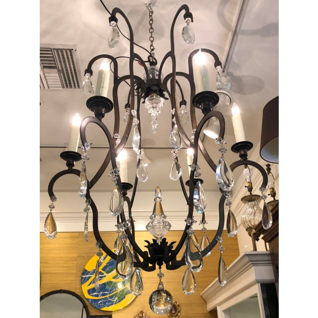 French Superb Dennis & Leen Bronze & French Crystal Chandelier For Sale - Image 3 of 5