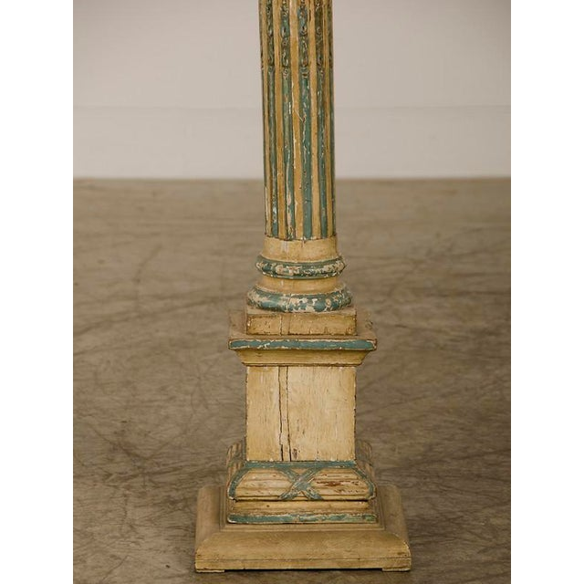 19th Century Italian Neoclassical Carved Wooden Original Painted Finish Candle Stand For Sale In Houston - Image 6 of 8