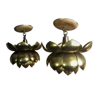 Feldman Lighting Company Lotus Pendants — a Pair For Sale