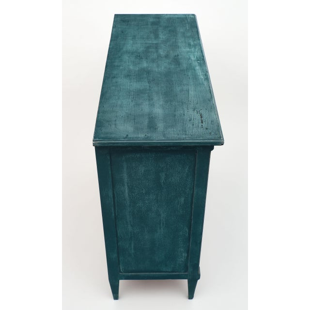 Antique Directoire Style Teal Buffet For Sale - Image 4 of 10