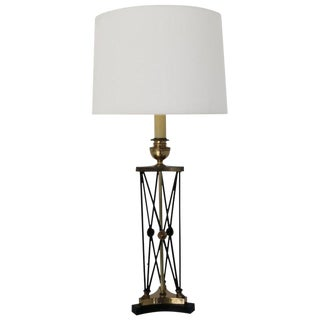 Brass and Black Steel Neoclassical Table Lamp For Sale
