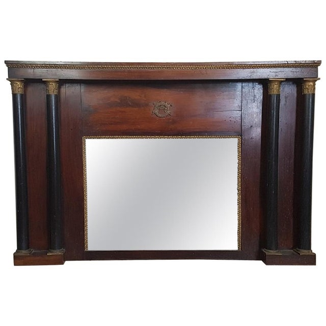 19th Century French Empire Mahogany Wall Mirror With Original Mercury Mirror For Sale - Image 12 of 12
