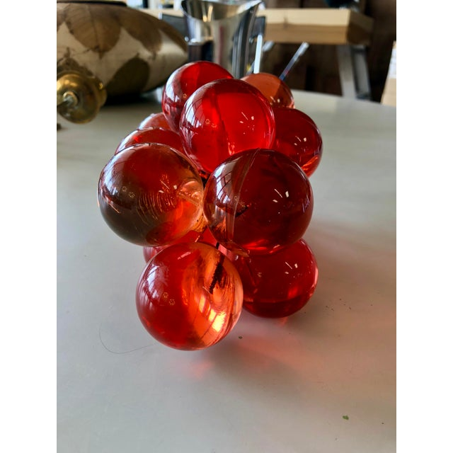 Vintage Rosé Colored Lucite and Wood Grapes For Sale - Image 4 of 5