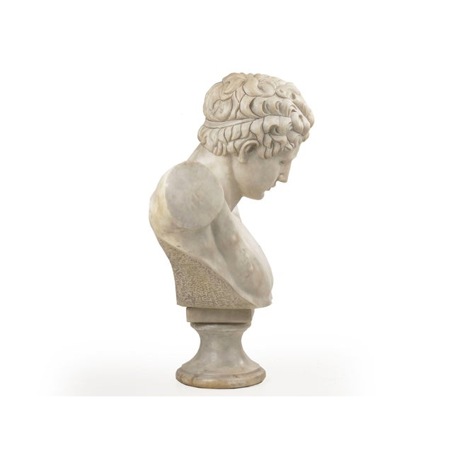 """A dramatic and incredibly fine Classical bust of """"Hermes of Praxiteles"""", this is an exquisite reproduction sculpted during..."""
