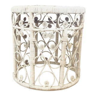 20th Century Boho Chic White Wicker Drum Table For Sale