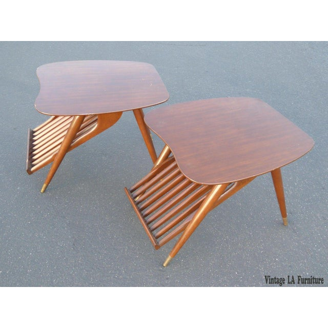 Danish Modern Magazine Rack Side Tables - A Pair - Image 3 of 11