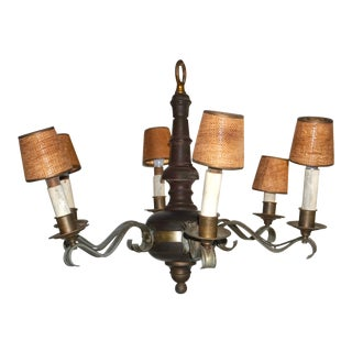 Antique French Country Napoleon III Style Wood & Bronze Chandeliers - a Pair For Sale