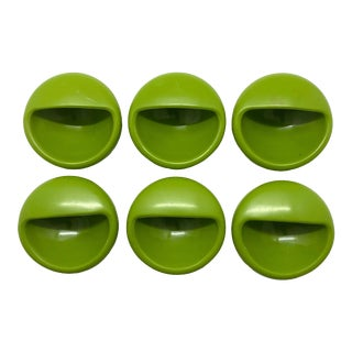 1960s Danish Furniture Recessed Round Cabinet/Furniture Handles - Set of 6 For Sale