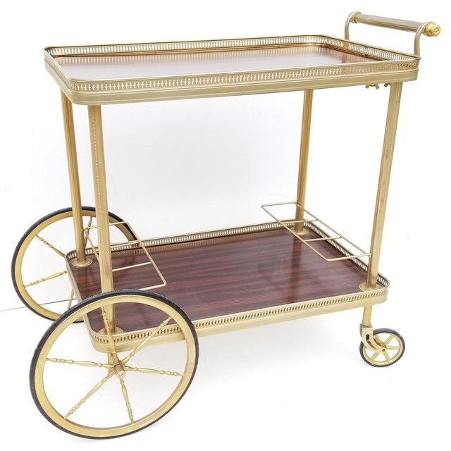 1960s Maison Jansen French Neoclassical Brass Bar Cart For Sale - Image 5 of 8