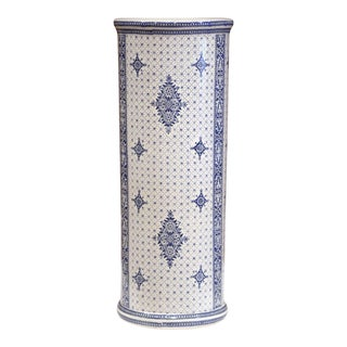 Early 20th Century Belgium Blue and White Hand-Painted Umbrella Stand, Bruges