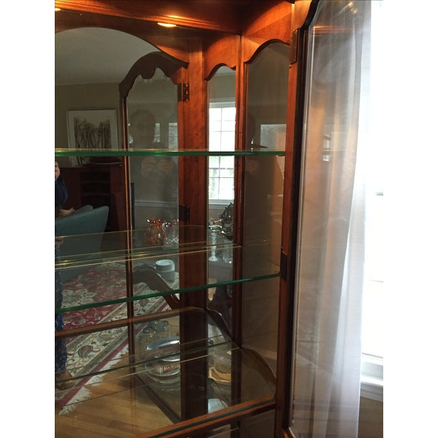 Ethan Allen Country French Lighted Curio Cabinet For Sale - Image 5 of 5