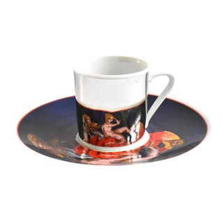 French Mirror Reflection Tintoretto Espresso Cup & Saucer - a Pair For Sale