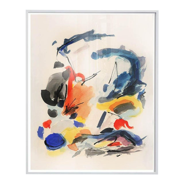 Mid-Century Modern Colorful Print With Primary Colors - Framed Giclée on Watercolor Paper For Sale