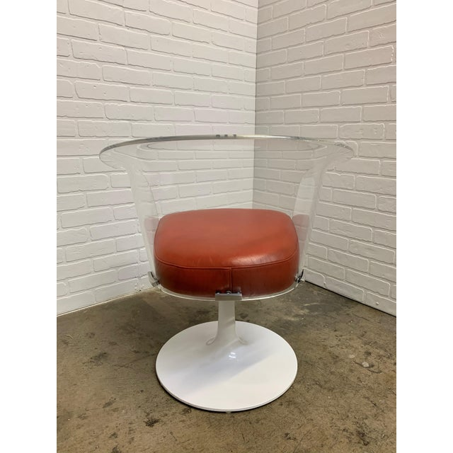 Lucite and Leather Space Age Chairs For Sale - Image 11 of 12