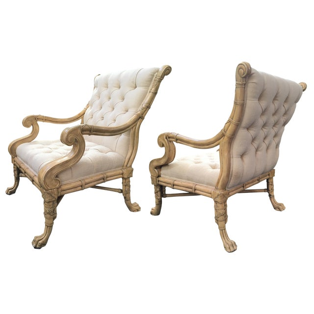Maitland Smith Bamboo Claw Foot Chairs - Pair - Image 1 of 9