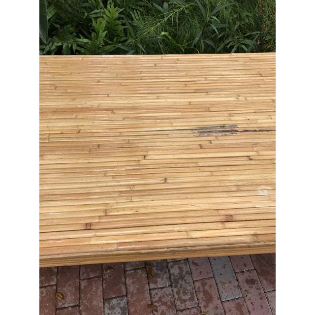 Vintage Pencil Reed Bamboo Waterfall Dining Table or Desk For Sale - Image 4 of 9
