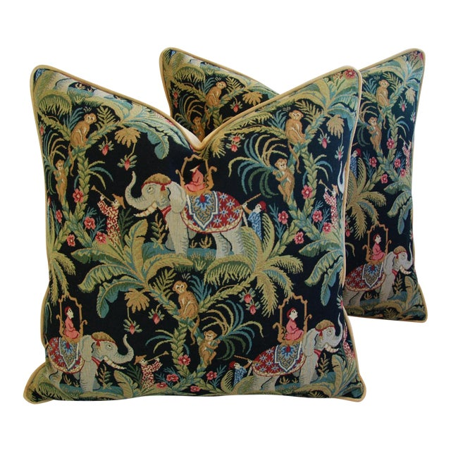Custom English Tapestry Jungle Paradise Pillows - a Pair - Image 1 of 10