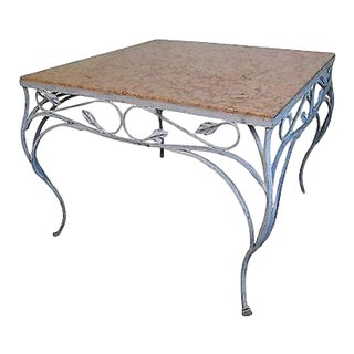 Salterini Square Ornate Iron Marble Top Patio Outdoor Dining Table For Sale