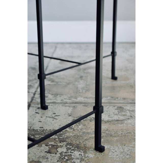 """White Contemporary Design Frères """"Diagramme"""" Wrought Iron and Travertine Side Tables - a Pair For Sale - Image 8 of 11"""
