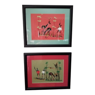 Original African Bushman Hunters Framed Signed Paintings - a Pair For Sale