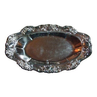 Mid 20th Century Towle Silverplated Embossed Tray With Roses and Scrolls For Sale