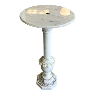 Italian Carrara Marble Pedestal/Plant Stand For Sale