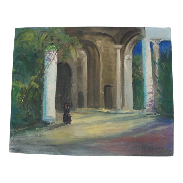 Contemporary Dark Figure by a Church in Havana Signed Oil Painting - Image 1 of 6