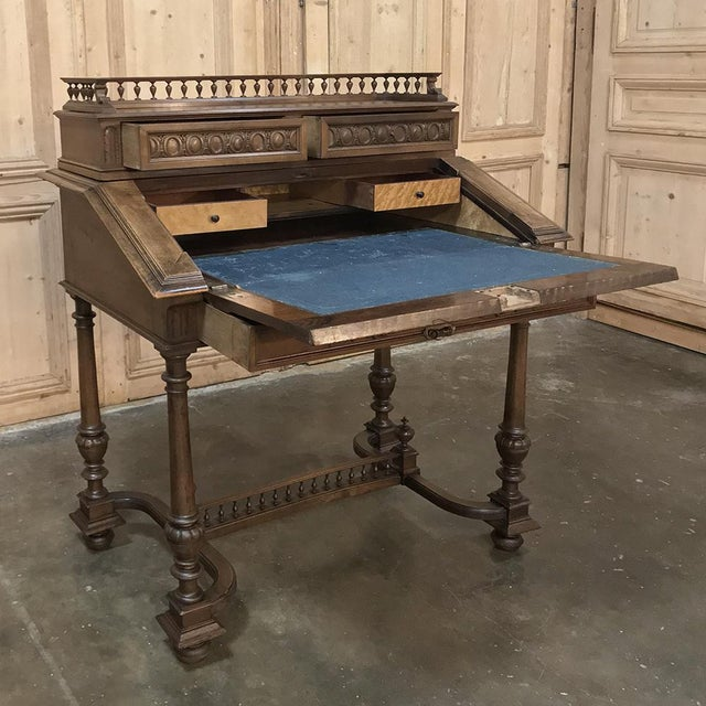 19th Century French Henri II Walnut Secretary is an elegant way to provide a compact work station in any room! Hand-...