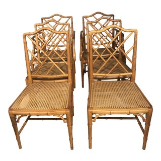 Faux Bamboo Dining Chairs - Set of 6 For Sale