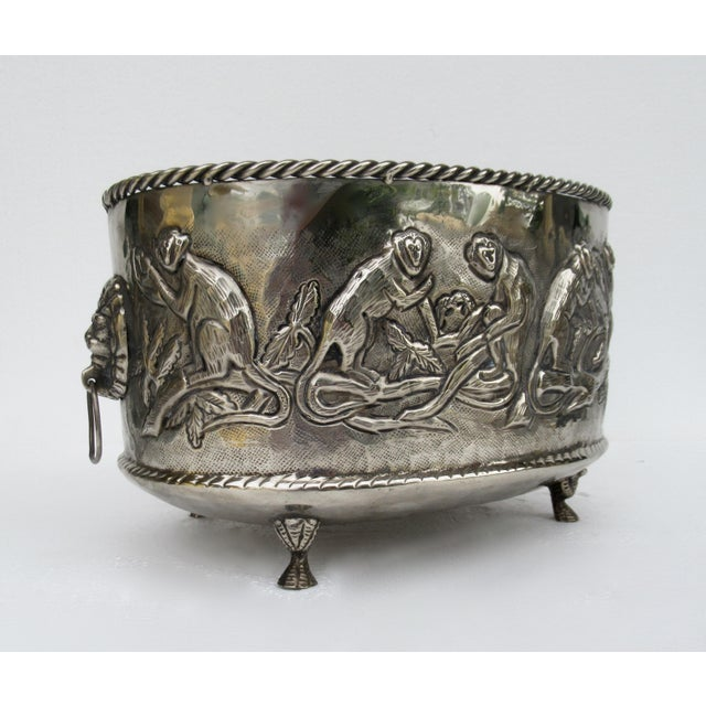 Castilian Hammered Silver Monkey Embossed Centerpiece Jardiniere, Planter For Sale - Image 4 of 13