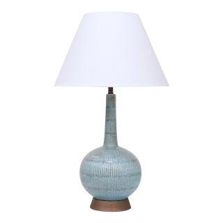 Vintage Blue Ceramic Lamp For Sale