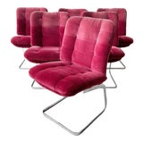 Image of Roche Bobois French Cantilever Burgundy Suede Dining Chairs on Chrome Bases - 4 Pieces For Sale