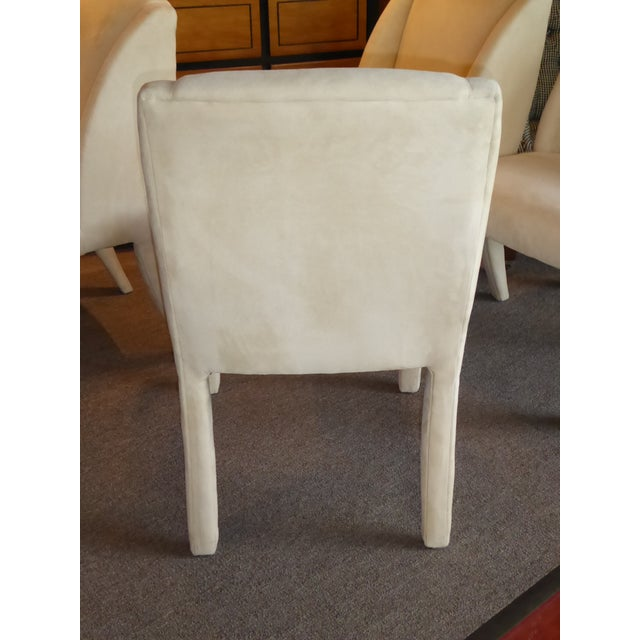 Off-white 1980's Directional Scupltural Ultra Suede Modern Dining Chairs - Set of 4 For Sale - Image 8 of 13