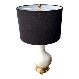 Hollywood Regency Chinoiserie White Porcelain Gourd Lamp For Sale