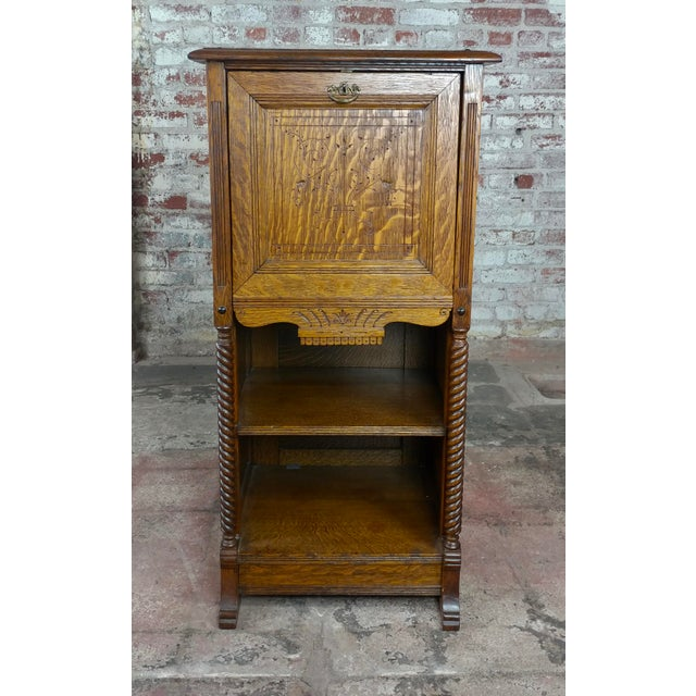 Antique Victorian Oak Cabinet w/hidden Jewelry Safe -Rare Solid Victorian American Oak Drop Front cabinet with an Iron...