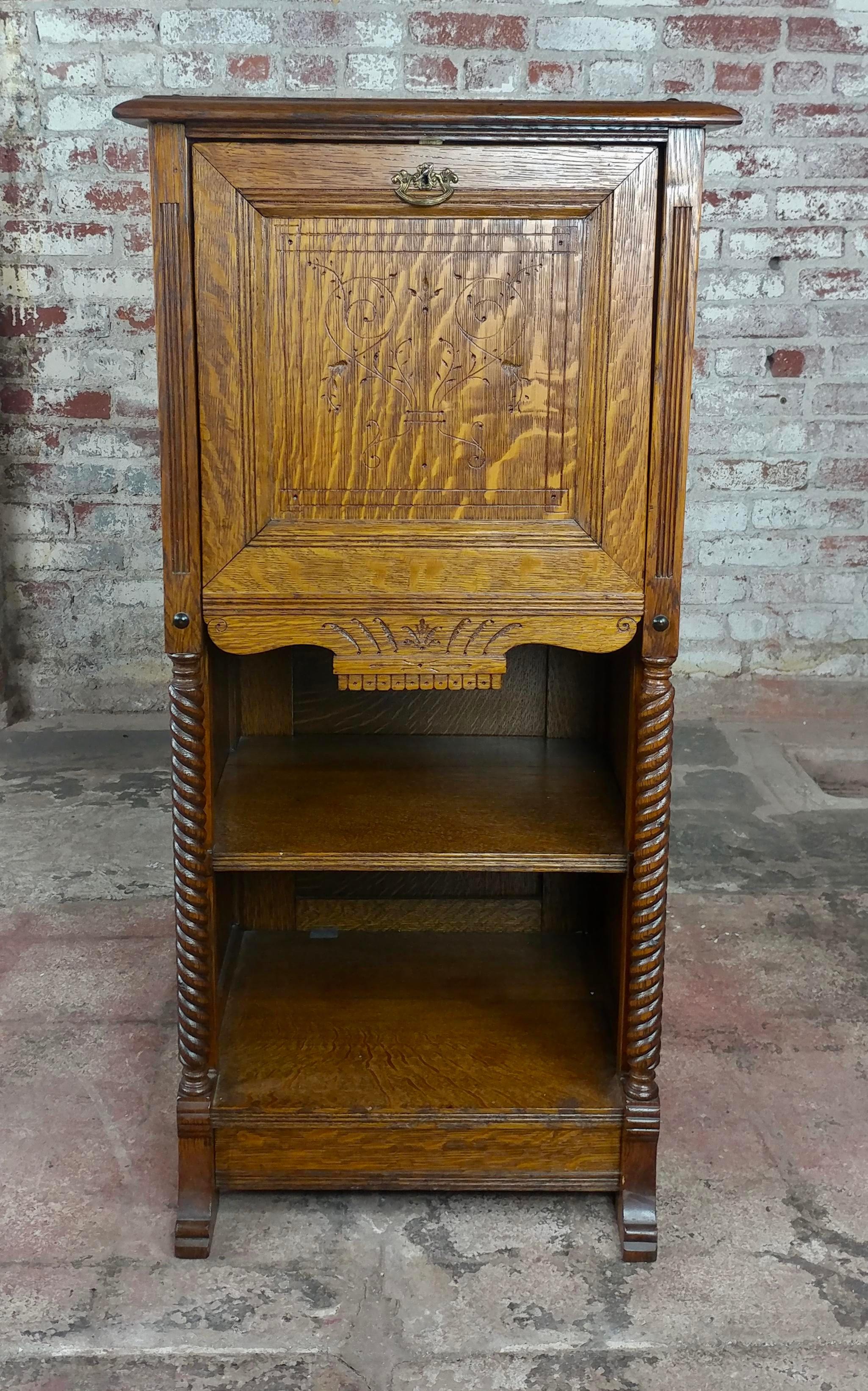 Antique Victorian Oak Cabinet W/Hidden Jewelry Safe  Rare