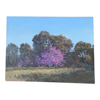 """1995 """"Redbud Time"""" Traditional Oil Landscape Painting For Sale"""