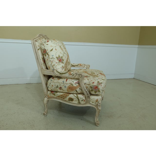 Thomasville Thomasville Decorator Upholstered Peacock Print French Chair For Sale - Image 4 of 11