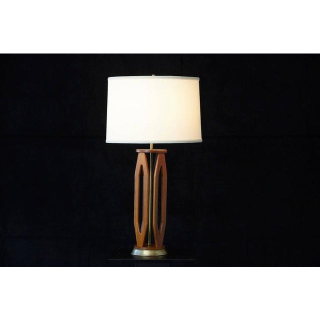 1960s Geometric Teak Table Lamp with Brass Base For Sale - Image 5 of 10