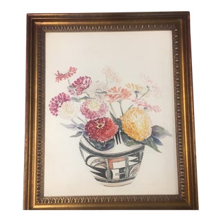 """Zinnias in Indian Pot"" Vintage Original Watercolor Painting"