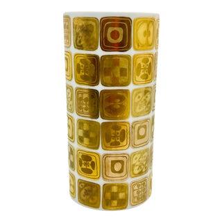 1970s Porcelain and Gold Cylinder Vase by Bjorn Wiinblad for Rosenthal Studio Line For Sale