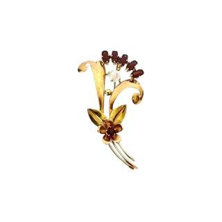 Vintage 14k Gold Garnet and Moonstone Brooch For Sale
