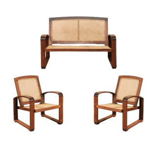 Vintage British Colonial Cane & Wood 3-Piece Seating Set With Chairs & Loveseat For Sale
