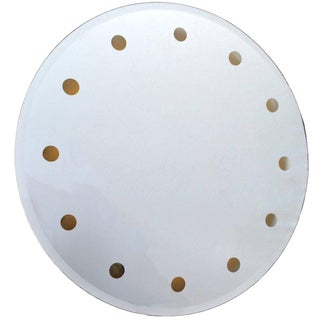 Mid-Century Modern Venetian Round Dotted Glass Mirror Backlit For Sale