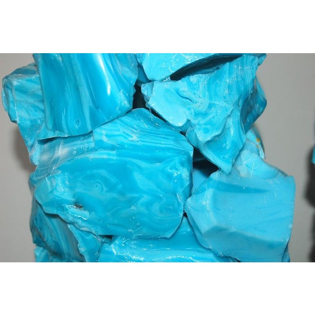 Glass Rock Table Lamps by Swank Lighting Blue For Sale In Little Rock - Image 6 of 10