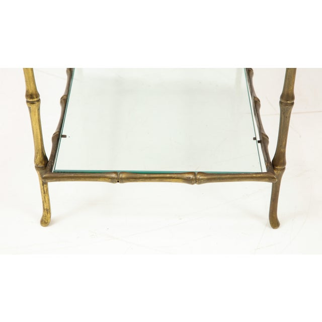 Solid Bronze Faux Bamboo Side Table by Maison Baguès, France, 1960s For Sale In New York - Image 6 of 10