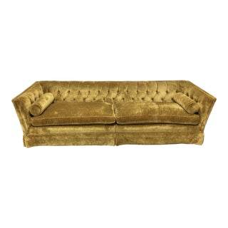 Mid-Century Modern Tufted Crushed Velvet Sofa For Sale