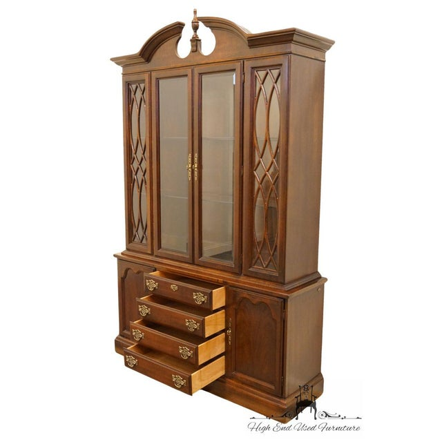 Wood Late 20th Century Vintage American Drew Cherry Chippendale China Cabinet For Sale - Image 7 of 13