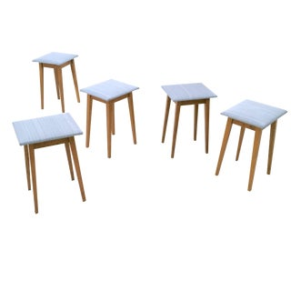 Set of Five Dusty Blue Oak and Fabric Stools, Italy, 1950s